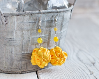 Yellow fabric bead Earrings, ruffled textile earrings, fabric jewelry, textile jewelry, dangle earrings, Unique Gift for Her