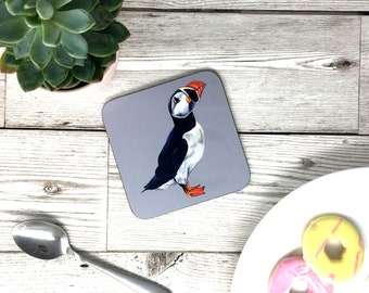 Hand Painted Puffin Bird Coaster - Grey - Puffin Animal Gift - Drinks Mat