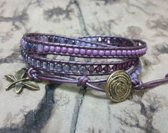 Pretty Purple 3x Adjustable leather wrap