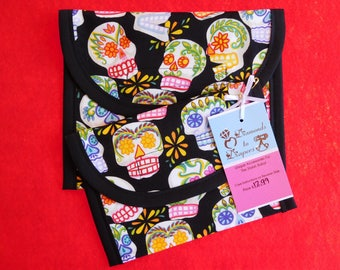 Mini Sugar Skulls Reusable Lunch Bag Set of 2 - Snack and Sandwich Size