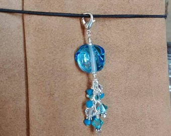 Blue Ice Lampwork Traveler's Niyebook Planner Charm Zipper Pull Swarovski Crystal Freshwater Pearl Sterling Silver Travelers