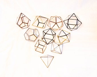 MEGA SET of 10 mini Geometric Glass Candle Holders! Modern wedding table and home decor