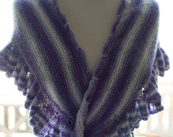 Handknitted Shawl in Purple and White