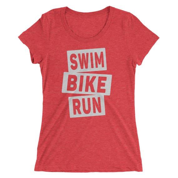 Women's Swim Bike Run Triblend T-Shirt - Triathlon Shirt - Available in 12 Different Shirt Colors - Women's Short Sleeve Triathlon Shirt