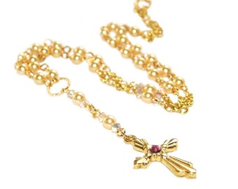 Anglican Rosary Necklace, Gold Swarovski Pearls & Gold Cross, Christian Wedding Jewelry