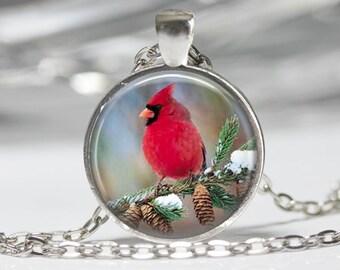 Cardinal Bird Pendant Glass Pendant Necklace Cardinal Jewelry Cardinal Pendant