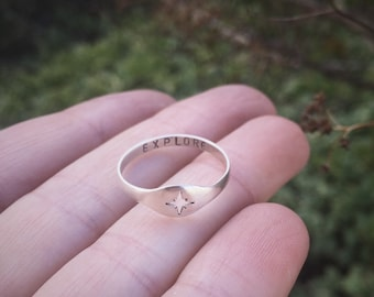 Secret message compass ring - sterling silver cutout ring with personal stamped message hidden inside band