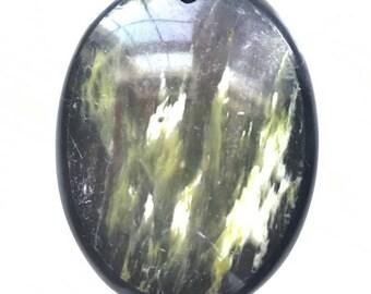 Superb Oval Olive Jasper and black onyx Frame Intarsia pendant bead BD13S85