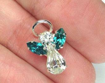 Rhinestone Angel pendant charm, Angel charm Crystal Angel, silver angel, swarovski crystal angel 14mm