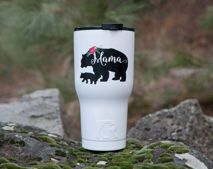 Custom RTIC Tumbler Mama Bear //  Monogram Tumbler  // Gift for Mom  // 30oz Personalized Tumbler // Personalized insulated tumbler