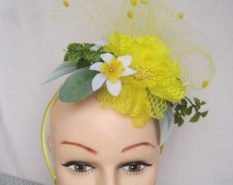 Yellow Silk Flower, Lace & Netting Summer Fascinator