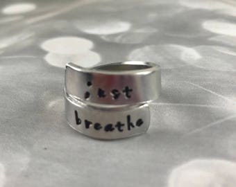 Semicolon Just Breathe personalized hand stamped wrapped ring