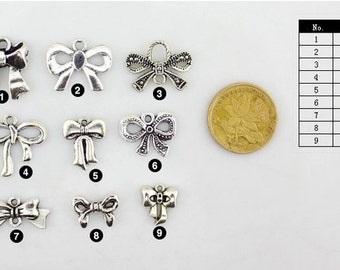 DIY Handmade Jewelry  Charms 9 styles Antique silver Bow necklace and/or bracelet charms pendants  --Quantity and style Free Choice