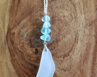 White Sea Glass Dangling from Aqua Glass Bead Necklace