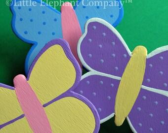 set/3 Custom Gossamer Wings Butterfly Quilt Clips - coordinates with Kidsline bedding sets