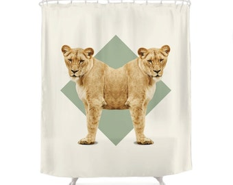 Lionesses Shower Curtain - Double Animals