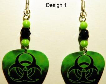 BIOHAZARD on Green Guitar Pick Beaded Earrings - Handmade in USA