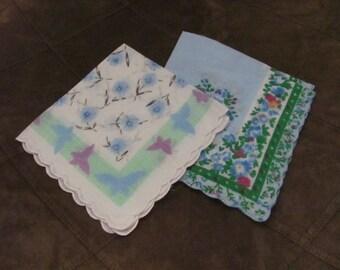 Hankies 2 Blue Floral Vintage Antique Handkerchief Hanky (106A)