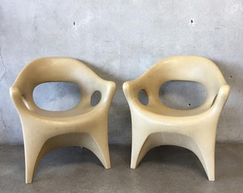 Pair of Rare Space Age Plastic Patio Chairs by John Gale (8BVQNK)