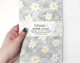 Journal Stocking Stuffer, Floral Sketchbook Daisy Gift For Her, Gardening Gift for Her, Daisy Stationery, Pocket Sketchbook, Handmade Jotter