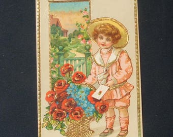 Antique Birthday Greetings Postcard, Printed In Saxony.