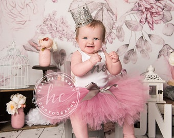 Pink Baby Girl 1st Birthday Outfit   Baby Tutu   Tutu Dress   Birthday Dress   Baby Girls Cake Smash Outfits   Birthday Tutu   Mauve   Rose