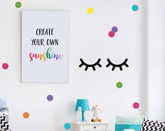 Sleepy Eyes Decal, Eyelash Wall Decals, Girls Bedroom Decal, Modern Eyes Wall Sticker, Kids Wall Art, Sleepy Eyes Wall Sticker