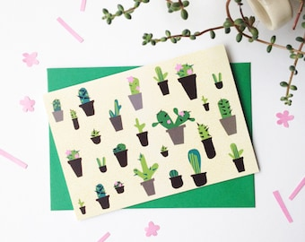 Cactus greetings card - cactus, succulent patterned illustrated card, A6 with green envelope. For cacti lovers or green - fingered gardeners