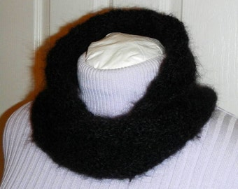 Hand Crocheted Silk Mohair Black Delicate Lace Style Infinite Cowl Neckwarmer