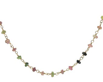 Multicolor Tourmaline wire-wrapped rosary style Sterling Silver chain