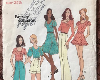 1970's Butterick Designer Betsey Johnson Alley Cat Pattern # 6534 -  Tops, Skirts, Pants, Shorts - Size 8, Bust 31.5