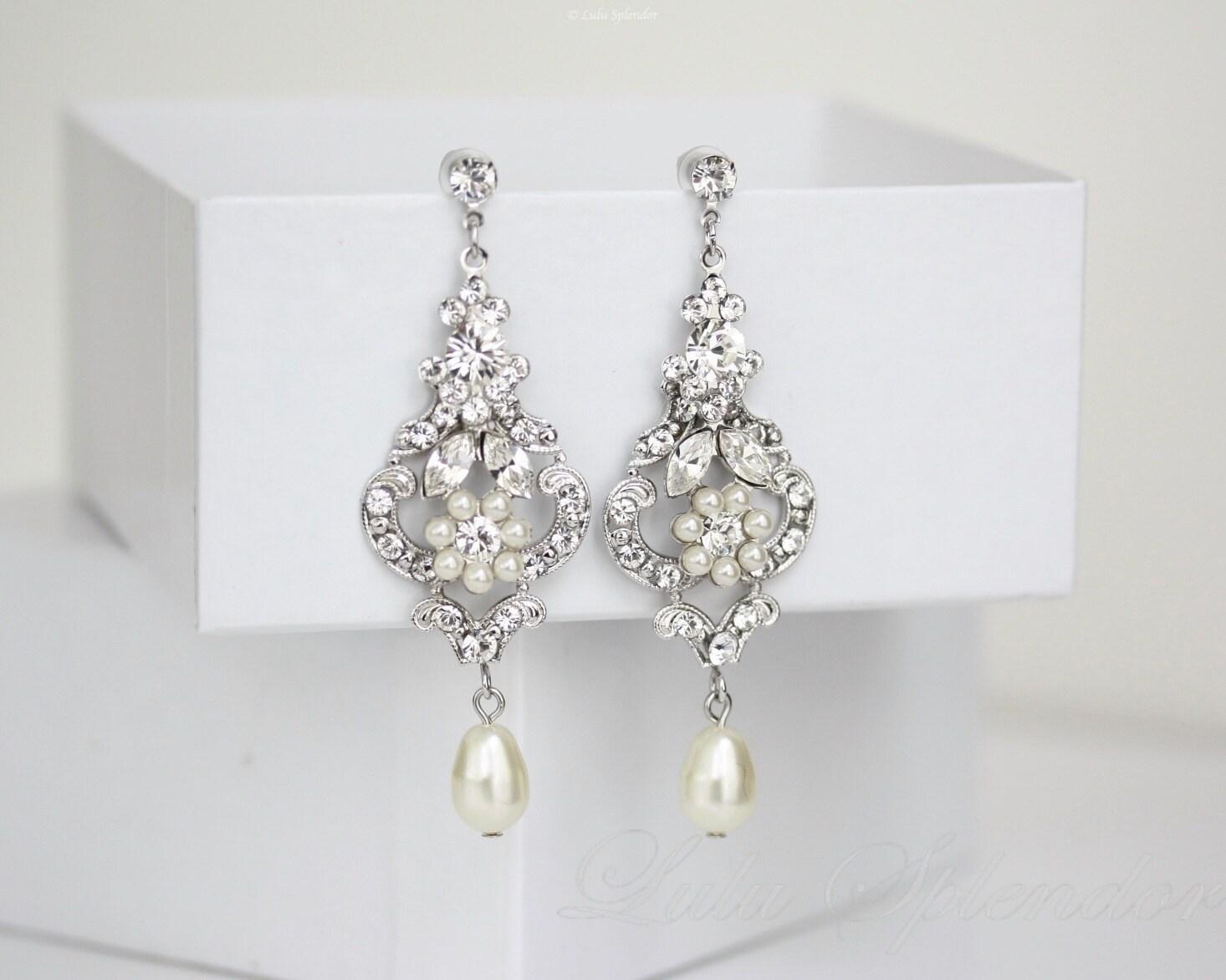 Wedding chandelier earrings ivory pearl dangle earrings zoom arubaitofo Choice Image