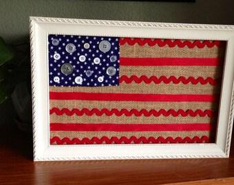Framed American Flag (Burlap)