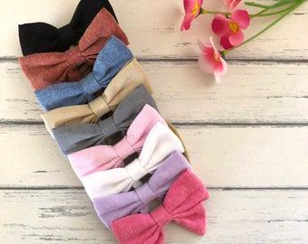 Linen Fabric Bows, Fabric Bow, Fabric Hair Bow