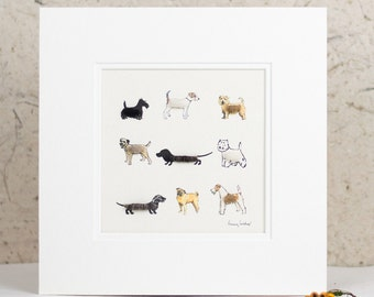 Print of 9 fluffy dogs, finished with real sheep's wool