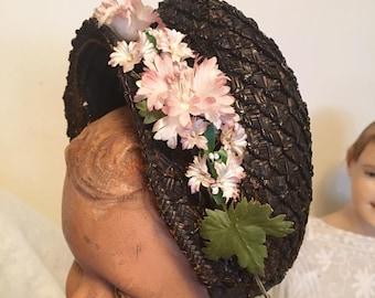 Victorian 1880s Straw Bonnet Antique Bonnet Black Straw Womens 1800's Bonnet