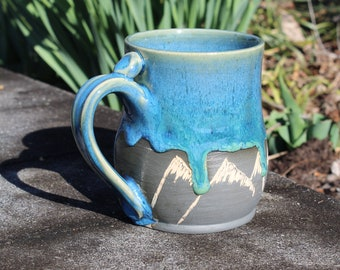 Bright Blue and Green Handmade Hand Carved Stoneware Mountain Mug, 16 oz