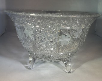 McKee cut glass footed bowl