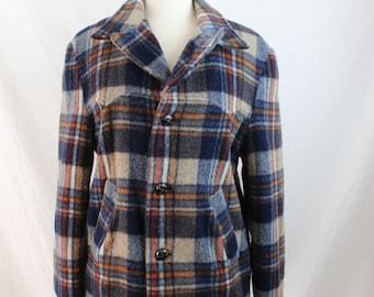 1960s Vintage Wool Plaid Coat Size Medium/Large