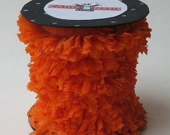 Handmade Orange Crepe Fringe