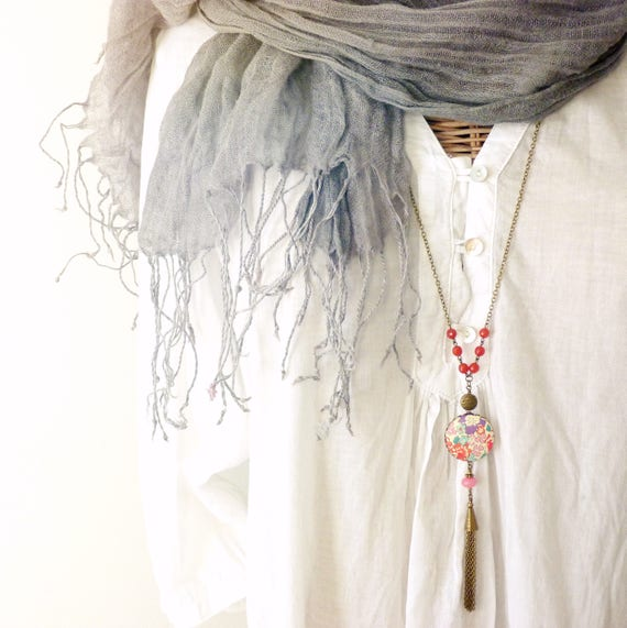 Liberty necklace, Tassel necklace, Long boho necklace, Liberty jewelry, Long tassel necklace, Free shipping Canada, Boho jewelry, Liberty