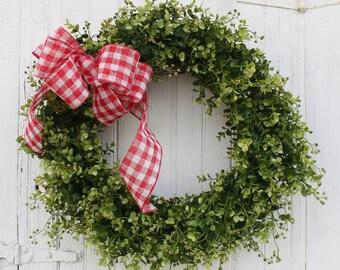 Farmhouse Valentine Wreath, Valentine Wreath,  Boxwood Wreath, Farmhouse Decor, Front Door Wreath, Outdoor Wreath, Red and White Bow, Wreath