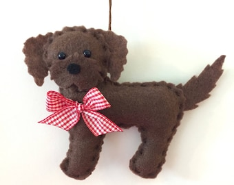 Labradoodle Ornament - Personalized Ornament - Chocolate Labradoodle - Christmas Ornament - Personalized gift - Labradoodle Gift