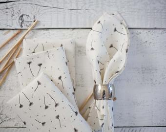 Linen cloth napkin set of 8, white linen floral patterned napkins bulk, Milky fluff