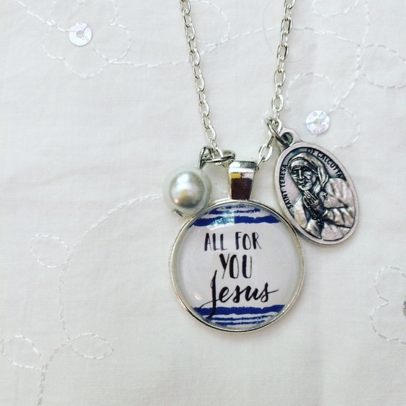Catholic Pendant Necklace * Handlettered Pendant * St. Mother Teresa Medal * Inspirational Jewelry * Gifts for Mom * Girlfriend Gifts
