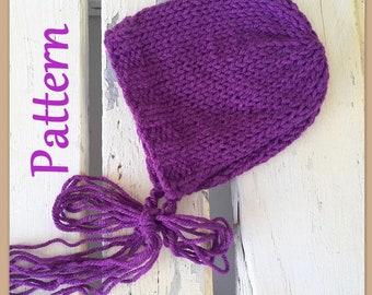Easy Baby bonnet double knitting PATTERN - Newborn bonnet pattern -  Photography prop pattern - Easy Baby hat pattern