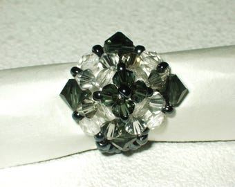 Black and white swarosky Crystal beads ring