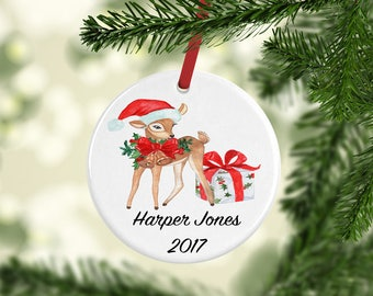 Personalized Christmas Gift, Baby's First Christmas Ornament, Personalized Ornament, Fox Ornament, First Christmas, Kids Xmas Ornament