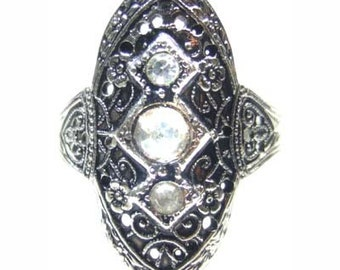 Antiqued 14k White Gold Filled Filigree Ring Size 7.5