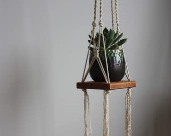 Handmade modern macrame hanging plant basket shelf reclaimed timber
